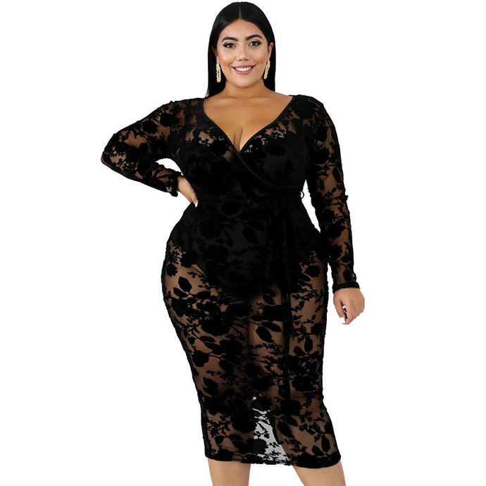Plus Size Sheer Suede Body-Con Dress
