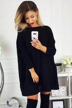 Load image into Gallery viewer, Black Batwing Sleeve Sweater Dress