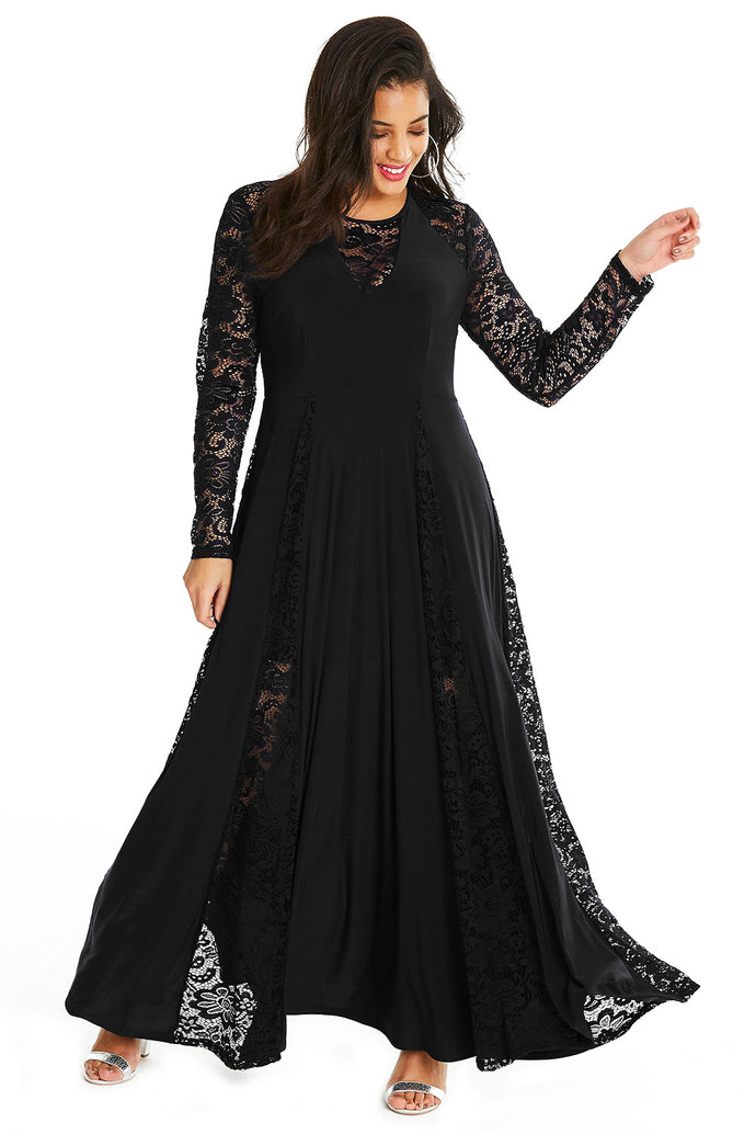 Black Night Lace Insert Plus Size Maxi Dress