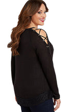 Load image into Gallery viewer, Black Lace up Sleeves Plus Size Top