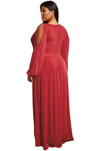 Load image into Gallery viewer, Red Split Long Sleeve Plus Size Maxi Dress
