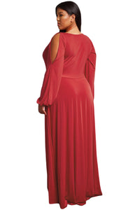 Red Split Long Sleeve Plus Size Maxi Dress