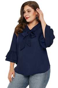Navy Blue Tie Neck Ruffle Sleeved Plus Size Blouse