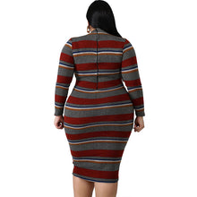 Load image into Gallery viewer, Plus Size Stripes Long Sleeve Bodycon Dress