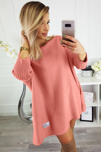 Pink Oversized Batwing Sleeve Sweater Dress