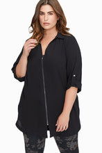 Load image into Gallery viewer, Black Plus Size Zip Down Chiffon Blouse