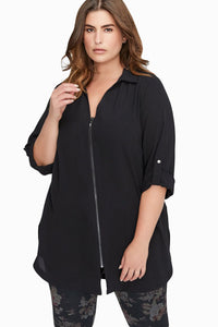 Black Plus Size Zip Down Chiffon Blouse
