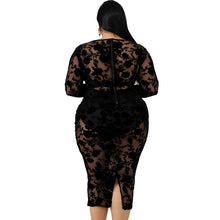 Load image into Gallery viewer, Plus Size Sheer Suede Body-Con Dress