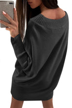 Load image into Gallery viewer, Black Stylish Long Sleeve Baggy Sweater Dress