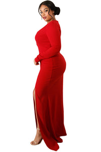 Red Slit Diva Plus Size Maxi Dress