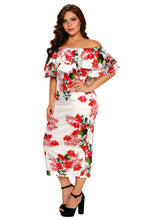 Load image into Gallery viewer, Floral Ruffle Off Shoulder Curvaceous Dress