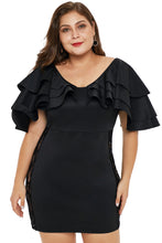 Load image into Gallery viewer, Black Cascading Shoulder Dress