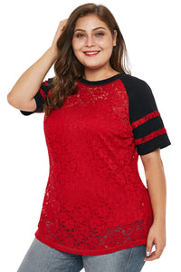 Red Lace Panel Raglan Sleeve T-shirt