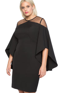 Black Mesh Cold Shoulder Plus Size Dress