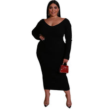 Load image into Gallery viewer, Plus Size Knitting V Neck Long Dress