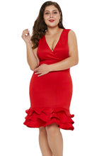 Load image into Gallery viewer, Red V Neck Sleeveless Plus Size Dress