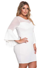 Load image into Gallery viewer, White Plus Size Mesh Trim Bell Sleeve Bodycon Dress