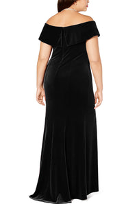 Black Off-The-Shoulder Velvet Gown
