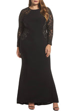 Load image into Gallery viewer, Black Lace and Knit Plus Size A-line Gown