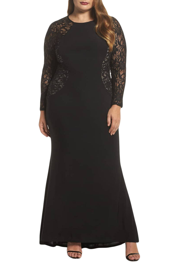 Black Lace and Knit Plus Size A-line Gown