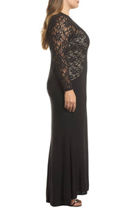 Black Lace and Knit A-line Gown