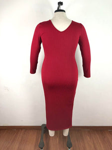 Long Sleeve V Neck Knitted Dress