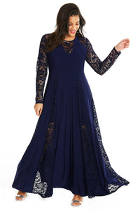 Blue Night Lace Maxi Dress