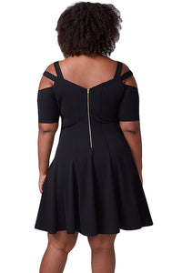 Black Strappy Shoulder Fit Flare Dress