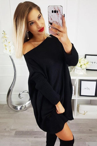 Black Oversized Batwing Sleeve Sweater Dress