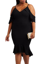 Load image into Gallery viewer, Black Plus Size Ruffle Cold Shoulder Flounced Dress
