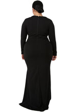Load image into Gallery viewer, Black Slit Diva Plus Size Maxi Dress
