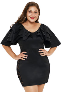 Black Cascading Shoulder Lace Insert Plus Size Dress