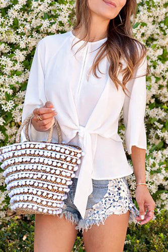 White Waist Tie Front Flare Sleeve Blouse