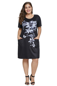 Black Floral Patterned Panel Dress