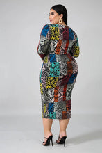Load image into Gallery viewer, Multi Color Long Sleeve Midi Dress