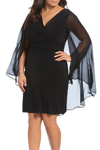 Load image into Gallery viewer, Black Plus Size Sleeveless Surplice Sheath Capelet Dress