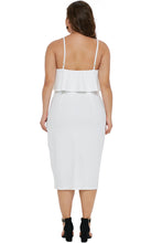 Load image into Gallery viewer, White Ruffle Overlay Slit Front Plus Size Dress