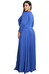 Royal Blue Plus Size Pocketed V Neck Maxi Dress