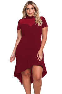 Burgundy Mesh Insert Ruffled Hi-low Hem Curvy Dress