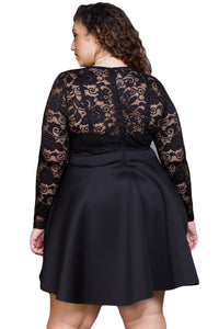 Black Floral Lace Patchwork Flared Curvy Dress