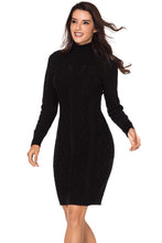 Load image into Gallery viewer, Black Cable Knit High Neck Sweater Dress