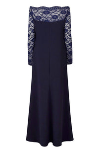 Blue Lace Off-The-Shoulder Maxi Dress