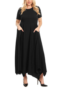 Black Plus Size Jersey Handkerchief Hem Dress