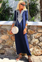 Load image into Gallery viewer, Blue Casual Crochet Embroidered Slit Summer Dress