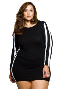 Striped Long Sleeve Black Ripped Curvy Dress