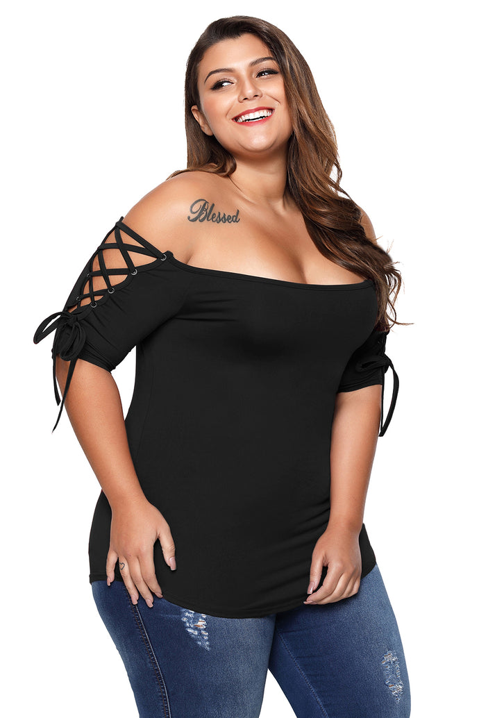 Black Plus Size Lace-up Shoulder Tee Top