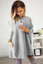 Load image into Gallery viewer, Gray Oversized Batwing Sleeve Sweater Dress