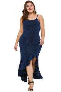 Navy Blue True Shine High-low Dress