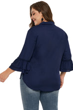 Load image into Gallery viewer, Navy Blue Tie Neck Ruffle Sleeved Plus Size Blouse