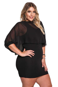 Black Plus Size Chiffon Layered Bodycon Dress